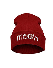Cute Red Letter Shape Decorated Pure Color Simple Hat