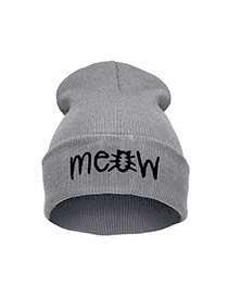 Cute Gray Letter Shape Decorated Pure Color Simple Hat