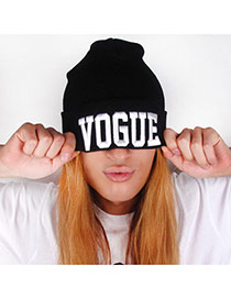 Fashion Black+white Vogue Letter Decorated Pure Color Simple Hat