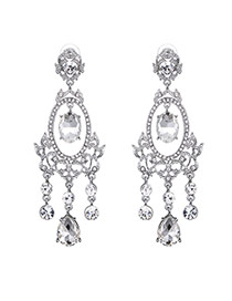 Fashion Silver Color Oval Shape Diamond Decorated Pure Color Tassel Earrings