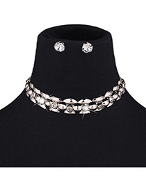 Exaggerated Silver Color Diamond Decorated Gemotric Pure Color Jewelry Sets