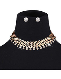 Exaggerated Gold Color Diamond Pendant Decorated Hollow Out Pure Color Jewelry Sets