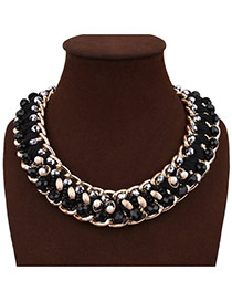 Exaggerated Black Pearl&gemstone Woven Decorated Simple Chocker