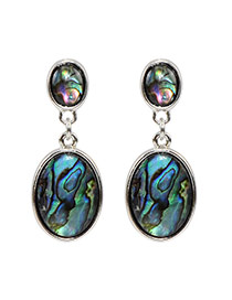 Fashion Multi-color Painted Sculptures Pattern Decorated Oval Shape Earring
