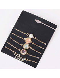 Elegant Multi-color Letter&gemstone Decorated Simple Bracelet Sets (5pcs)