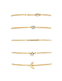 Elegant Gold Color Diamond&arrow Shape Decorated Simple Bracelets Sets(5pcs)