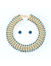 Luxury Blue Multilayer Diamond Decorated Simple Jewelry Sets