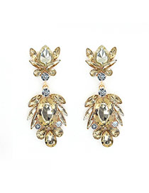Luxury Champagne Geometric Shape Gemstone Decorated Simple Earring