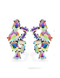 Fashion Multi-color(ab) Geometric Shape Gemstone Decorated Hollow Out Earring