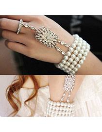 Sweet White Hollow Out Oval Flower Shape Decorated Simple Bracelet