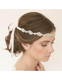 Luxury White Hollow Out Leaf Shape Decorated Simple Hair Band