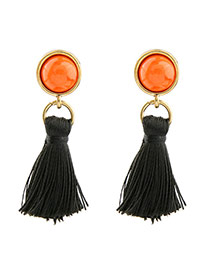 Fashion Black Round Shape Diamond Decorated Tassel Design Simple Earrings