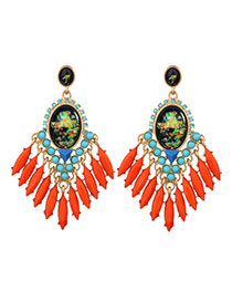 Exaggerated Red Oval Shape Gemstone Decorated Tassel Design Earrings