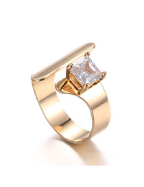 Fashion Gold Color Square Shape Diamond Decorated Opening Design Ring