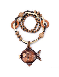 Fashion Brown Fish Shape Pendant Decorated Double Layer Necklace