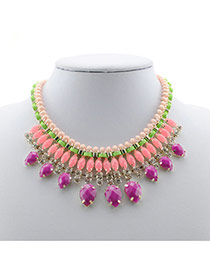 Exaggerated Red Oval Shape Diamond Decorated Multi-layer Collar Necklace