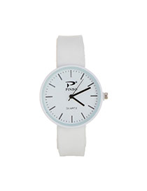 Fashion White Pure Color Decorated Big Dial Design Simple Watch