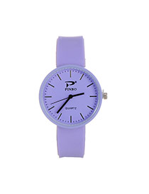 Fashion Purple Pure Color Decorated Big Dial Design Simple Watch