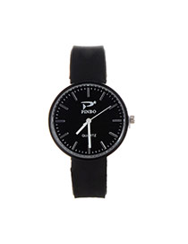 Fashion Black Pure Color Decorated Big Dial Design Simple Watch