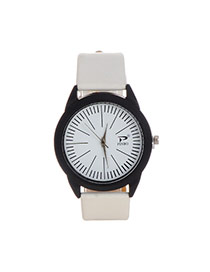 Fashion White Color Matching Decorated Big Dial Design Simple Watch