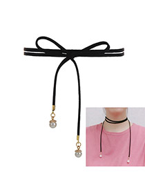 Fashion Black+white Pearls Pendant Decorated Double Layer Necklace