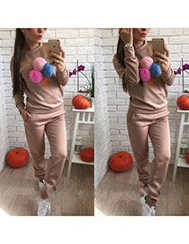 Fashion Khaki Fuzzy Balls Decorated Ice Cream Shape Long Sleeve Plus Velvet Sportswear Suits