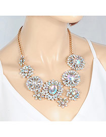 Fashion Multi-color Oval Shape Diamond Decorated Flower Shape Simple Choker