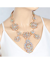Fashion Multi-color Oval Shape Diamond Decorated Hollow Out Design Choker