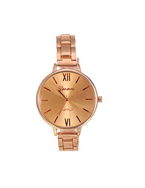 Fashion Champagne Pure Color Decorated Large Dial Design Simple Watch