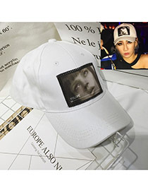 Fashion White Human Face Pattern Decorated Simple Baseball Hat