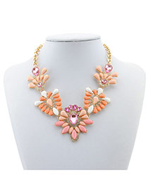 Elegant Pink Oval Shape Decorated Simple Short Chain Necklace