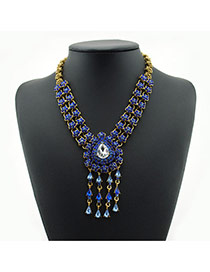 Luxury Blue Oval Shape Decorated Tassel Double Layer Necklace
