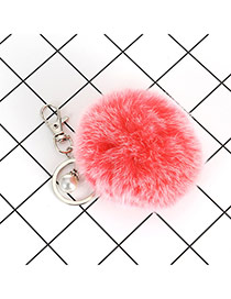 Lovely Red Fuzzy Ball &pearl Decorated Simple Key Ring
