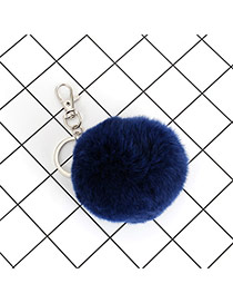 Lovely Navy Fuzzy Ball Decorated Simple Key Ring