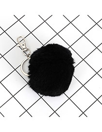 Lovely Black Fuzzy Ball Decorated Simple Key Ring