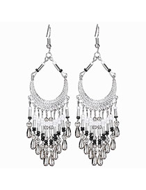 Bohemia Silver Color Metal Tassle Decorated Simple Long Earrings