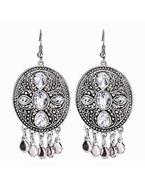 Vintage Silver Color Metal Round Shape Decorated Tassle Earrings