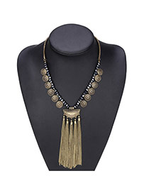 Vintage Gold Color Matal Fan Shape Decorated Long Chain Necklace