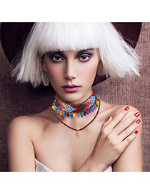 Bohemia Muti-color Painted Design Decorated Double Layer Choker