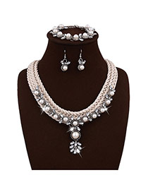 Exquisite White Pearl Pendant Decorated Hand-woven Chain Jewelry Sets