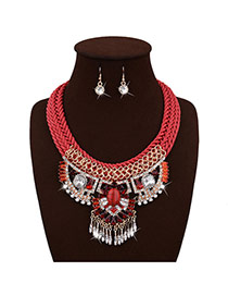 Exaggerated Red Geometric Pendant Decorated Hand-woven Chain Tassel Jewelry Sets