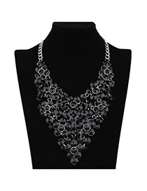 Sweet Black Hollow Out Flower V Shape Decorated Short Chain Necklace