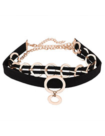 Exaggerated Black Round Shape Metal Decorated Double Layer Chocker