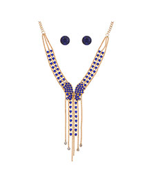 Fashion Royal Blue Alloy Diamond Single Layer Bowknot Necklace Set