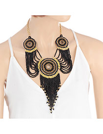 Bohemia Black Round Shape Decorated Simple Tassel Necklace