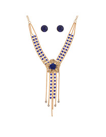 Fashion Royal Blue Alloy Diamond Single Layer Flower Necklace Set