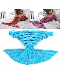 Sweet Blue Pure Color Decorated Merman Design Simple Blanket
