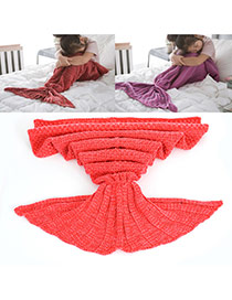 Sweet Red Pure Color Decorated Merman Design Simple Blanket