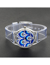 Fashion Blue Painted Design Decorated Simple Wrist Watch