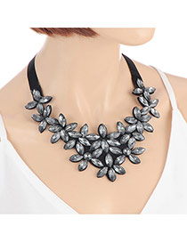 Elegant Gun Black Flower Shape Decorated Simple Chocker